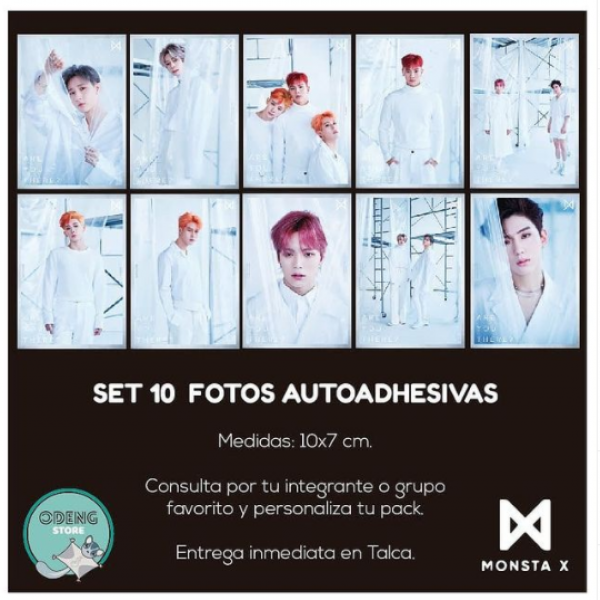 SET 10 FOTOS AUTOADHESIVAS MONSTA X