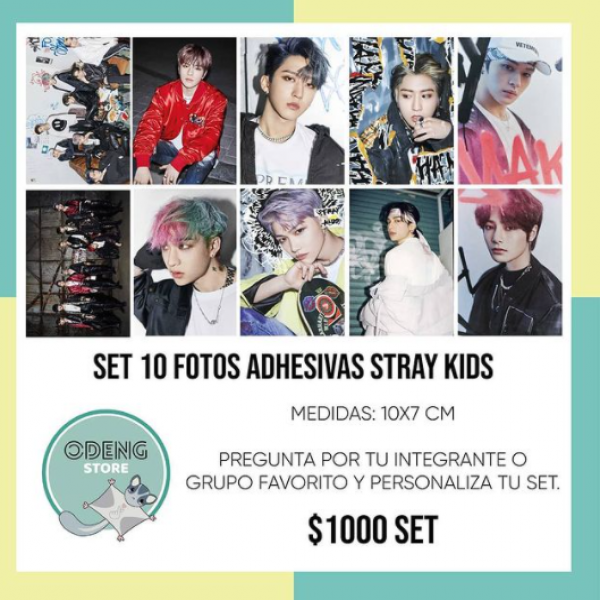 SET 10 FOTOS AUTOADHESIVAS STRAY KIDS ODENGSTORE